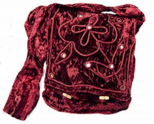 Hippy Bag~ Burgundy velvet Bohemian Mirror Shoulder Bag~ Folio Gothic Hippy